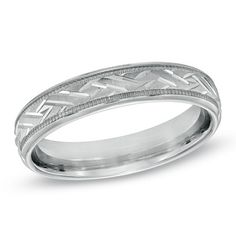 Ladies' 4.0mm Woven Comfort Fit Milgrain Wedding Band in Sterling Silver