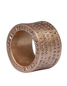 Heather Moore ring: Rose Gold 15mm Pipe Ring Names, Sans Serif