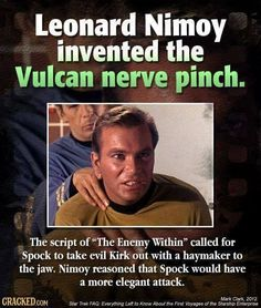 Also Nimoy didn't want to use all that energy fighting (Fact)