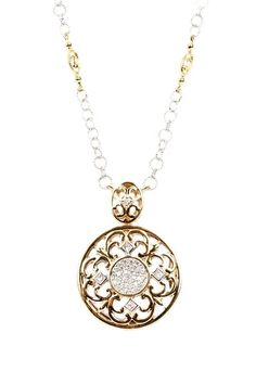 "Charriol ""18K White & Yellow Gold Pave Diamond & Round Scroll Pendant Necklace""."