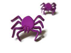 Halloween Spider Earrings, Purple, Gold Toned Nickel Free Stud Posts #spider #spiders #Halloween #earrings #studs #jewelry #purple #violet #creepy $5.00
