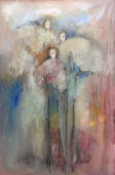 Linda James received a Bachelor of Visual Arts from Auburn University including advanced studies with Wolf Kahn, Marc Chatov, and Albert Handell among others. James has shown at the Cahoon. Painting & Drawing, Watercolor Paintings, Cemetery Angels, Angel Artwork, Angels Among Us, Theme Noel, Christian Art, Figurative Art, Les Oeuvres