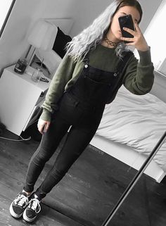 Tattoo choker with oversized green sweater, black overalls & Vans shoes by alieence - #grunge #alternative #fashion