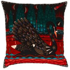 Klaus Haapaniemi's Black Swan cushion cover features a graceful black swan in a mystic, red milieu with towering fir trees and a blazing meteor in the sky. What catches the eye first is the bird's beautiful, decorative plumage. Funky Cushions, Colourful Cushions, Velvet Cushions, Cushions On Sofa, Traditional Decorative Art, Large Throw Pillows, Cushion Inspiration, Flora Und Fauna, Embroidered Cushions