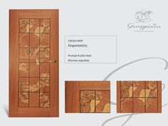 handmade wooden door_code: Luzon / by Georgiadis furnitures #handmade #wooden #door #marqueterie Doors, Map, Marquetry, Location Map, Maps, Gate