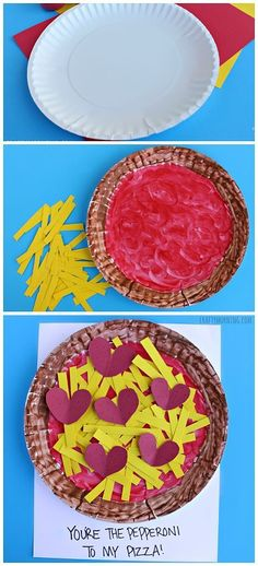 """Paper Plate Pepperoni Pizza Craft - Easy Valentine's Day Craft for Kids! """"You're the pepperoni to my pizza!"""" 