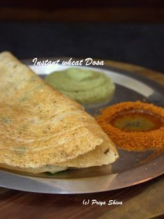 This is a quick recipe to make some instant dosas with wheat flour. This recipe is especially helpful when you are in a hurry. You can also use leftover dosa batter in place of rice flour. Instant Dosa Recipe, Instant Recipes, Indian Snacks, Indian Food Recipes, South Indian Breakfast Recipes, New Chicken Recipes, Tiffin Recipe, Korma, Chapati