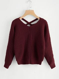 Burgundy V-Neck Criss Cross Back Chunky Knit Sweater Cropped Pullover, Cropped Sweater, Long Sleeve Sweater, Pullover Sweaters, Winter Outfits, Casual Outfits, Fashion Outfits, Womens Fashion, Fashion Fashion