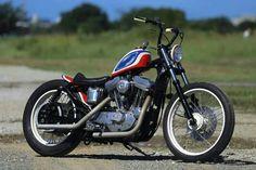 "Custom Harley-Davidson XL 883/1200 1991-2003 | Cut-off rear fender struts | ""Frisco"" style early Spprtster gas tank | Grimeca front master cylinder | Japan style apehanger handlebars | One-off oil tank & seat"