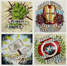 """""""Avengers, Assemble!"""" tattoo concepts by Alivia Marie"""
