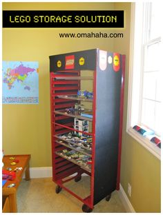 A LEGO storage solution: I like this because my son can display the ones he's built. Cute!