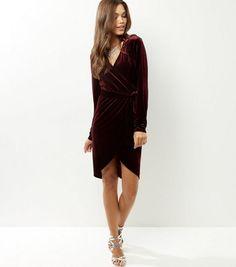 Burgundy Velvet Wrap Front Dip Hem Midi Dress   New Look