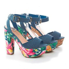 Joline23 Peep Toe Ankle Wrap Platform Chunky Summer Heels