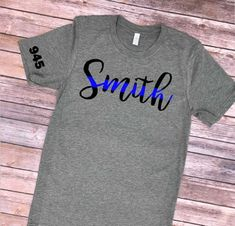 Last Name Thin Blue Line Shirt / Police Wife Shirt/ Police Wife / Leo Wife / Thin Blue Line / Thin Red Line / Firefighter Wife Police Girlfriend, Police Wife Life, Police Officer Crafts, Police Police, Leo Wife, Kids Shirts, T Shirts For Women, Police Shirts, Thin Blue Lines