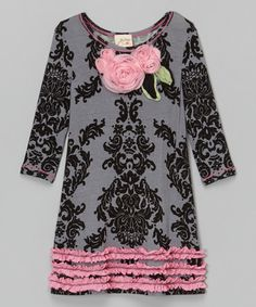 Love this Gray & Pink Damask Rosette Shift Dress - Toddler & Girls by Vanilla Crème on #zulily! #zulilyfinds