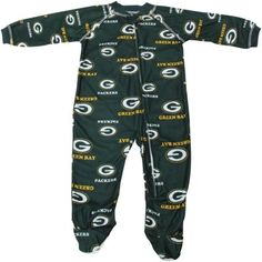 My kid needs this!    Green Bay Packers Newborn Full Zip Raglan Coverall - Green