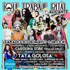 Gran elenco de artístas el de Que Trabaje Rita el sábado 30 en #Marmarela!!!!! #QueTrabajeRitaAlicante #Summer #Alc