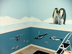 Penguin Nursery Mural -gah! Wish someone would do this for me!