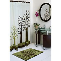 @Overstock - This uniquely styled shower curtain carries a vivid tree print that adds a touch of nature to the bathroom. The curtain is made of cotton with button eye holes for hanging.http://www.overstock.com/Bedding-Bath/Jovi-Home-Woodland-Shower-Curtain/6985514/product.html?CID=214117 $39.99