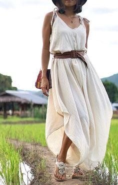 Harem Dress, Jumpsuit Dress, Summer Jumpsuit, Dress Skirt, Cotton Jumpsuit, White Jumpsuit, Boho Outfits, Summer Outfits, Fashion Outfits
