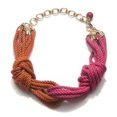 Cleopatra Rope Necklace, Pink/Orange