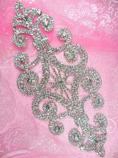 """N10 Bridal Crystal Rhinestone Sash Applique Metal Back Embellishment 8"""" (N10-slcr)"""