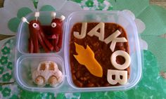 "Most days I ask Jakob what he wants to eat and then I make magic..lol!!  Today he asked for Chili and chose the rocket ship cutter so I created Aliens out of Organic all beef hotdogs (using the same idea from my octopus hot dogs).  He also wanted ""rice"" car balls with his space theme, so he got em'.  I created the rice car by using an egg mold, these are very helpful and versatile (GJK)."