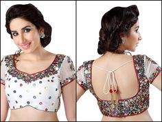 Saris and Things abhla choli mirror work sari blouse New Saree Blouse Designs, Latest Saree Blouse, Blouse Designs Catalogue, Best Blouse Designs, Blouse Back Neck Designs, Neckline Designs, Saree Blouse Patterns, Blouse Styles, Sari Bluse