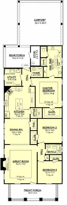 1800 sqft Floor plan...for a narrow lot
