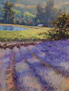 Lavender Fields by Clark Mitchell Pastel ~ 12 x 9