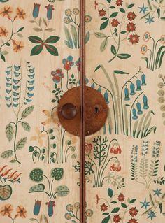 Josef Frank mahogany cabinet, doors and sides covered in Frank's floral chintz fabric 'Fatima', Svenskt Tenn ca Josef Frank, Frank Frank, Chintz Fabric, Blog Deco, Painted Doors, Painted Armoire, Painted Cupboards, Hand Painted Walls, Decoration