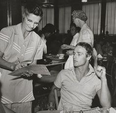 "#MarlonBrando in lunch break during the rehearsals of ""Julius Caesar"", Circa 1953."