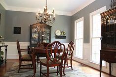 two tone dining room with chair rail - light color above/dark color ...