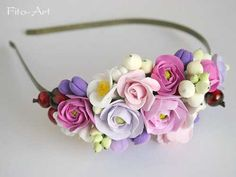 pretty clay flower headband - could work on cake too...