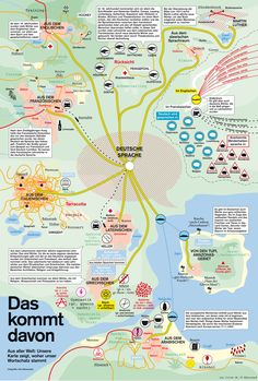 (Infografik From all over the world: The map shows where the German vocabulary came from! German Grammar, German Words, German Language Learning, First Language, German Resources, German English, Learn German, Classroom Language, Language Activities