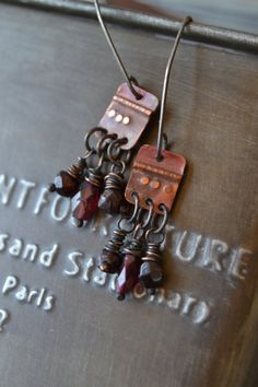 rustic oxidized copper earrings with faceted by StudioLunaVerde