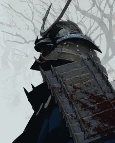 Shogun, Joon Ahn, #samurai, armor, concept art, digital painting, winter, metal helmet, inspirational #art
