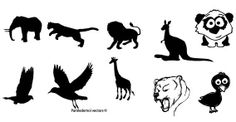 Download  Animal Silhouettes Free Vector  - Different kinds of animals like elephant,tiger,lion,camel,kangaroo and birds.