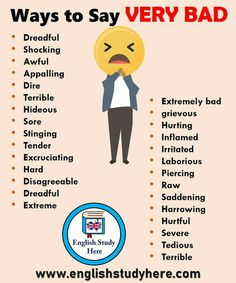 47 ways to say VERY BAD in English – Study English here – Learn English English Learning Spoken, Learn English Words, English Phrases, English Language Learning, English Study, Teaching English, English English, Education English, Teaching Spanish