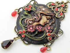 Art Nouveau painted cameo necklace by DarkenroseJewellery on Etsy, $42.00