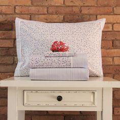 Juego de sábanas de 200 hilos Basic Diseño Rositas azules