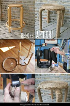 Rope wrapped bar stools Amazing DIY idea