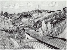 M.C. Escher - Paesaggio italiano - dintorni di Siena (1923).