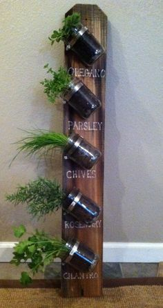 A small home requires creative use of space! A recycled fence board, mason jars, hose clamps, a bit of white paint, and herbs from my garden have created this handy indoor garden.