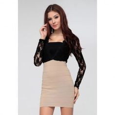 Plunging Neck Long Sleeves Lace Splicing Sexy Style Polyester Bandage Dress For Women (Wrapped Chest)