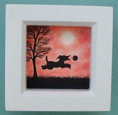 #Dog #Picture, #Framed Dog #Art, #Black Dog Gift, Dog #Silhouette #Drawing, #Kids Gift £15.00