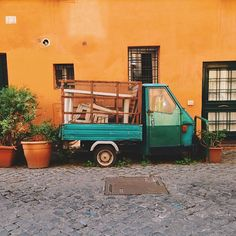 Roma #vscocam  (at www.manmakepicture.tumblr.com) Beautiful World, Beautiful Things, Yellow Car, Rome, Cabin, Vacation, House Styles, Places, Home Decor