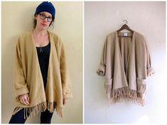 Oversized Sweater Coat Beige Fleece Jacket Soft Fringed Kimono Jacket, Kimono Top, Blanket Coat, Fringe Cardigan, Sweater Coats, Vintage Sweaters, Coats For Women, Beige, Stylish
