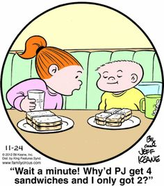 Family Circus Cartoon for Nov/24/2012. Show to kids when talking about equivalent fractions.