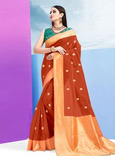d987571a1f932 Brown Silk Saree With Blouse 144374. IndianClothStore. Teal Green ColorRust  ColorBuy ...